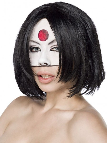 Schwarze Damen Bob Frisur Perücke Samurai Frisur lässig geschnitten kinnlange Haare