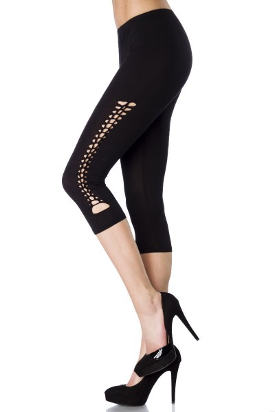 Capri Leggings mit Muster weich und dehnbar mit Schnürung Größe S/M