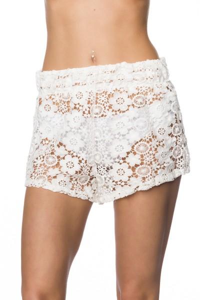 Sommerliche Damen Shorts transparent Häkelshorts in weiß elastisch Höschen