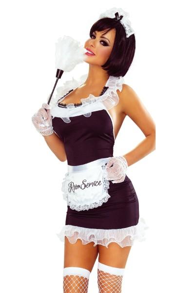 7-teiliges erotisches Reizwäsche Damen Kostüm Maid Zimmermädchen in schwarz weiß Kleidchen dehnbar
