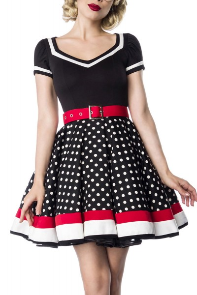 50er Jahre Damen gepunktetes Vintagekleid mit weiß schwarzen Streifen und rotem Gürtel im Marine Loo
