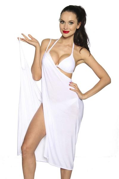 Strandtuch zum binden elegantes Sommerkleid leichtes Tuch Bademode Damen OneSize weiß