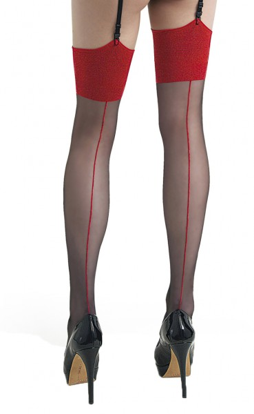 Damen Dessous halterlose Straps-Strümpfe gemustert in schwarz rot Stockings 10 den