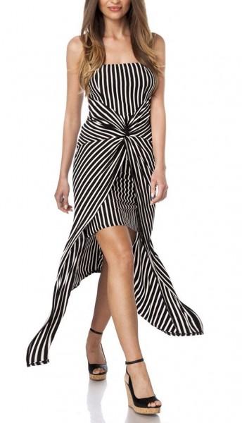 Damen Kleid längs gestreift mit Wickel Rockteil Sommerkleid Drapierung Hosenrock Optik asymmetrisch