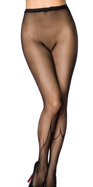 Transparente schwarze Damen Strumpfhose Netz Design und Flammen Muster und elastischem Bund
