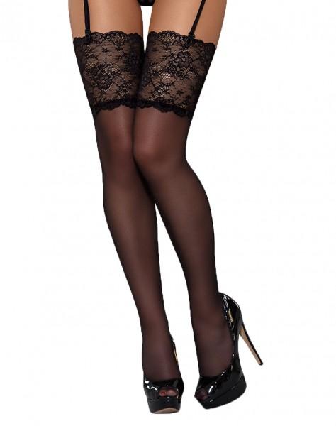 Damen Stockings schwarz Strümpfe mit Spitze halterlos Straps-Strümpfe erotisch transparent