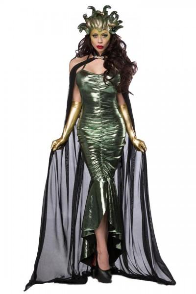 Damen Medusa Fantasy Kostüm Schlangen Verkleidung aus Kleid, Maske, mit Cape und Handschuhen in grün