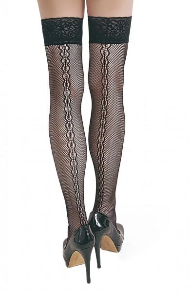 Damen Dessous halterlose Netz-Strümpfe aus Spitze in schwarz Stockings mit Silikonstreifen und Spitz