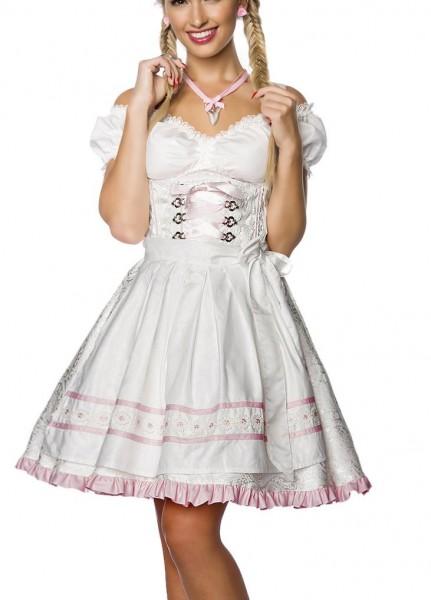 Dirndl Kleid Kostüm mit Schürze Minidirndl mit Blumenborteen Brokat und ausgestelltem Rockteil Oktob