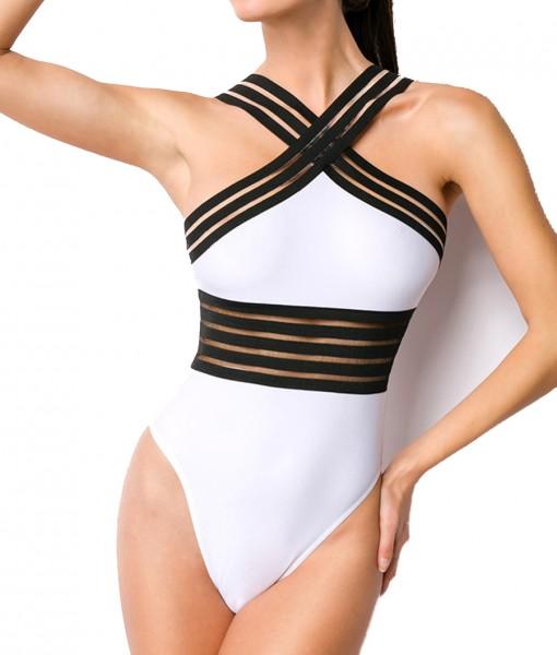 Schwarz weißer Neckholder Badeanzug mit transparenten Streifen und gekreuzten Trägern sowie breiten