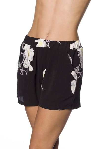 Schwarze weite Shorts mit buntem Blütendruck weite Schlupfhose mit Eingriffstaschen Crepe Stoff