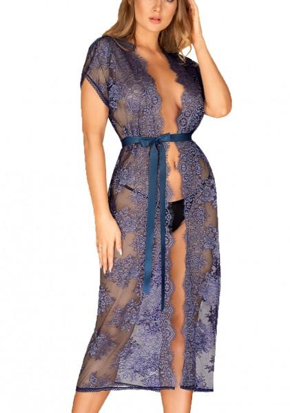 Frauen Dessous Reizwäsche langer Peignoir in blau Morgenmantel kurze Ärmel mit Satingürtel und Multi
