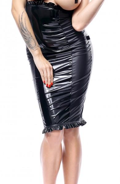 Schwarzer Damen wetlook fetisch Rock mit Reißverschluss knielang