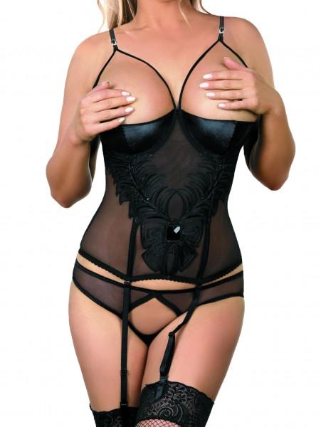 Schwarzes erotisches Damen Dessous Straps Gorset Hemdchen brustfrei mit Bügel Cups, Strapshalter und