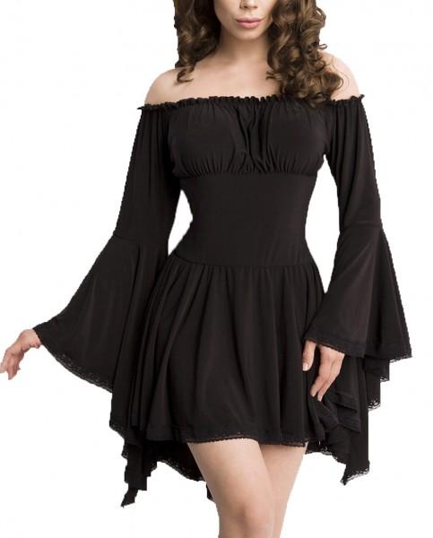 Schwarze Tunika Kleid aus Jersey mit Trompetenärmeln und Carmenausschnitt Spitzenbesatz Mittelaltero