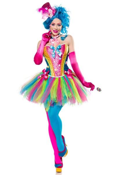 Damen Candy Girl Fantasy Kostüm Süßigkeiten Verkleidung aus Corsage, Hut, Stockings und Tutu Rock in