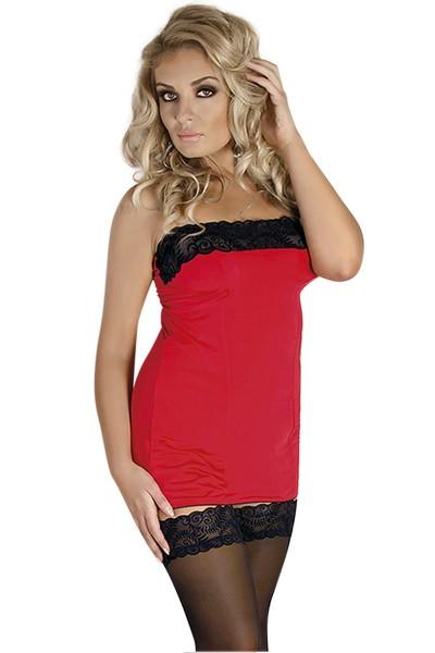 Rot/schwarzes Chemise Minikleid dehnbar und blickdicht Damen Dessous Schlauchkleid mit Spitze