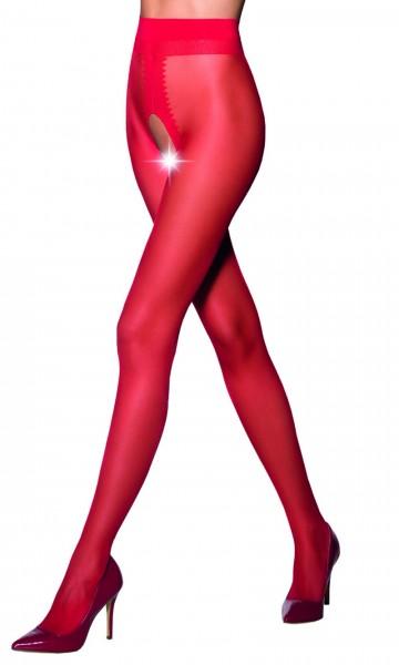 Ouvert Strumpfhose Frauen Dessous in rot elastisch transparent im Schritt offen
