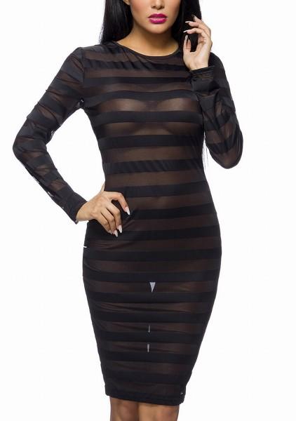 Schwarzes Minikleid mit Streifen aus Netzstoff schmale langen Ärmeln transparent S-M Onesize