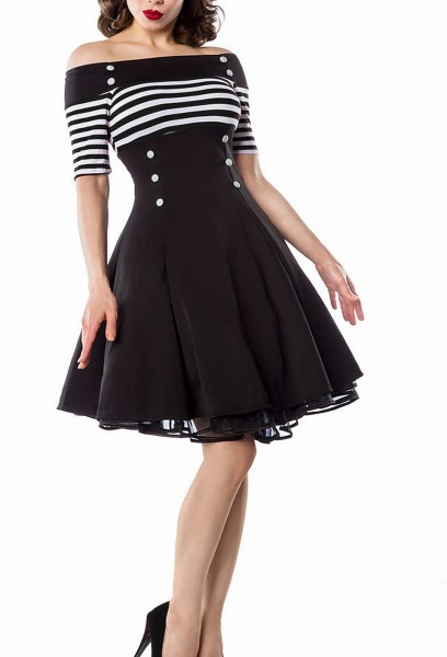 Schwarzes Schulterfreies Damen Vintagekleid mit weiß schwarzen Streifen und weißen Knöpfen im Marine