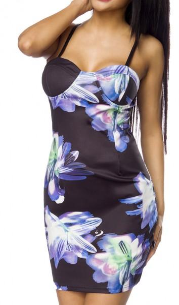 Kurzes Sommerkleid mit Push Up und Blumendruck Muster eng geschnitten