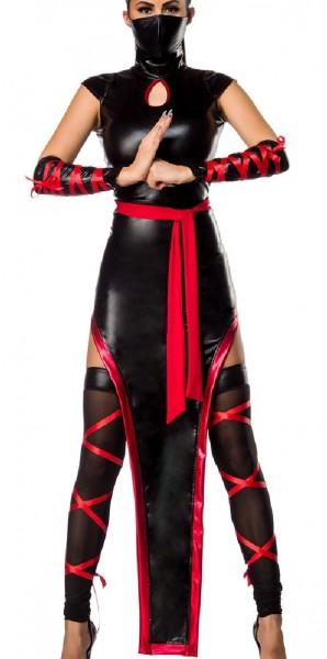 Damen Ninja Outfit Kostüm Kleid mit Kleid im Ninja Look Maske, Armstulpen, Beinstulpen und Gürtel in