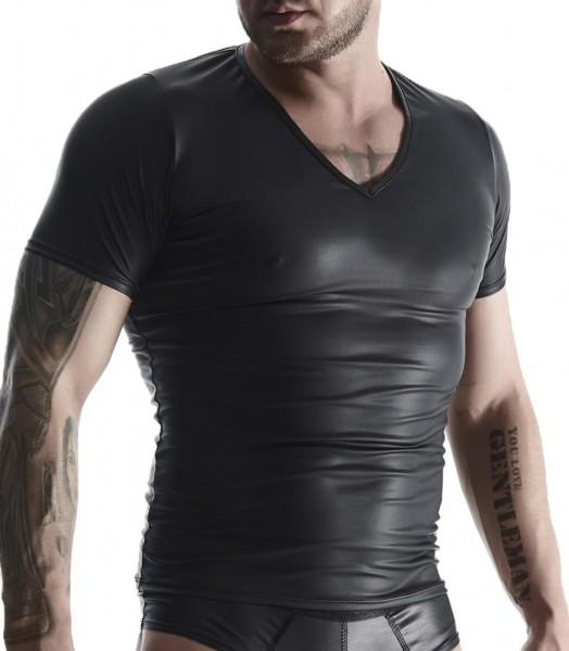 Herren T-Shirt schwarz aus wetlook Material Hemd dehnbar blickdicht Gogo fetisch Shirt Männer
