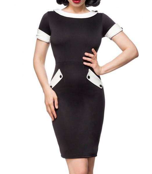 Schulterfreies Damen Pencilkleid in schwarz mit weißen Kragen und Manschetten Vintagekleid mit kurze