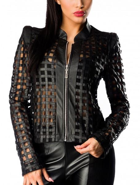Schwarze Damen Jacke aus Kunstleder mit Löchern langen Ärmeln und Stehkragen