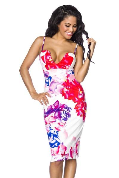 Weißes Sommerkleid mit buntem Blumenmuster und tiefem Ausschnitt gepaddet