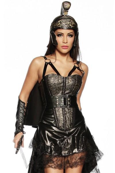 Damen Gladiatoren Outfit mit Kunstleder Corsage Umhang Helm und Armstulpen in schwarz gold