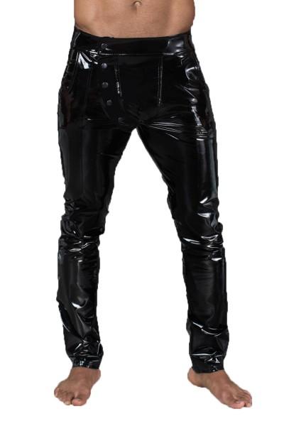 Lange Herren fetisch Gogo Hose aus elastischem PVC schwarz glänzend Männer Pants