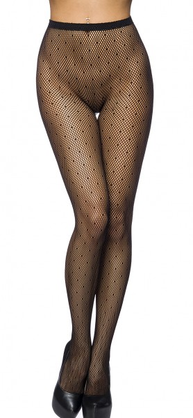 Schwarze Strumpfhose mit Punkten transparent Netzstrumpfhose
