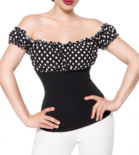 Schulterfreie Bluse aus Jersey mit kurzen Ärmeln und Carmenausschnitt Retro-Top mit Raffung