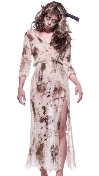 Damen Geister Zombie Kostüm Leiche Verkleidung aus Kleid, offen geschnitten und Perücke in weiß grau