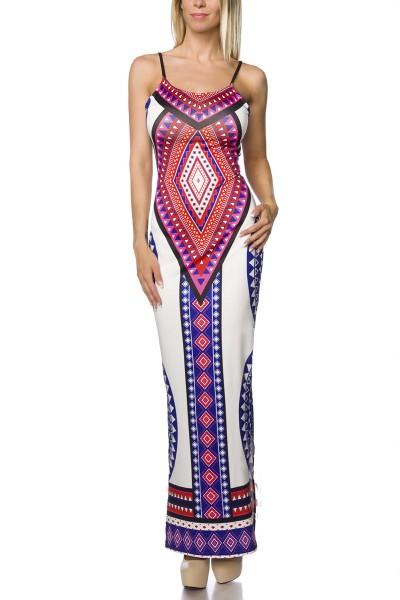 Maxikleid blau weiß gemustert rückenfrei elegantes Sommerkleid geschlitzt zum schnüren