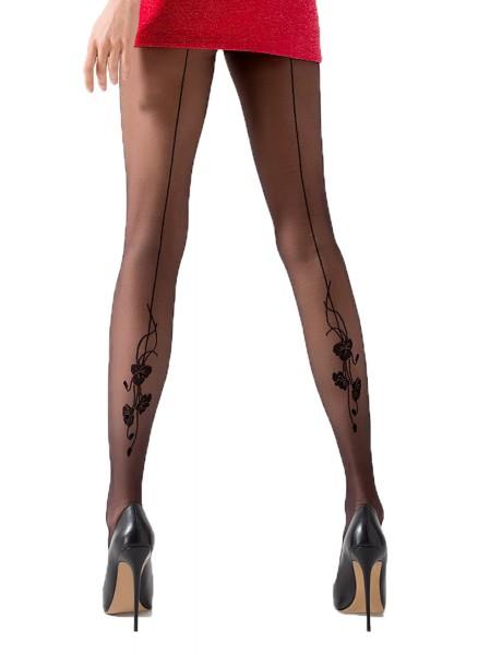 Damen Strumpfhose matt erotisch schwarz transparent mit Muster 20 DEN
