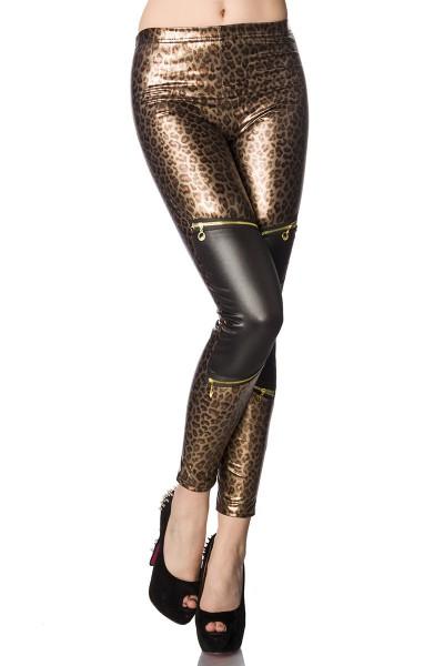 Leopard Wetlook Leggings mit Reißverschlüssen am Bein elastisch glänzend
