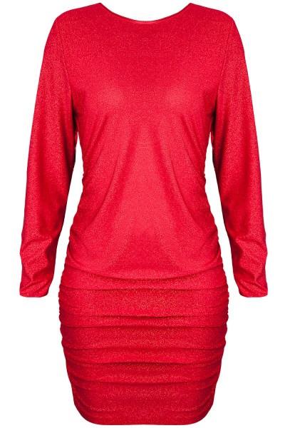 Rotes Minikleid mit langen Ärmeln und Rückenausschnitt elegantes Abendkleid kurz glänzend