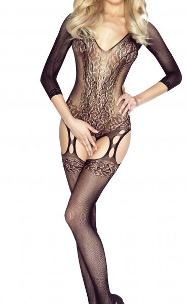 Schwarzes Damen Netz-Catsuit ouvert Bodystocking mit Ärmel transparent dehnbar Netz gemustert OneSiz