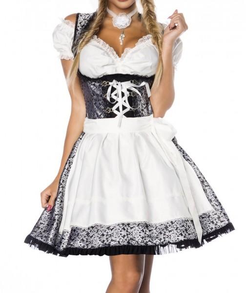 Dirndl Kleid Kostüm mit Bluse und Schürze aus Jacquard Stoff und Spitze Oktoberfest Dirndl silber/we