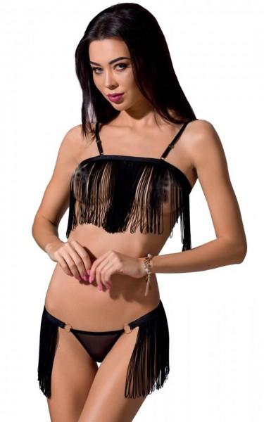 Schwarzes Frauen Dessous Set BH brustfrei und String aus Gummibänder und Fäden dehnbar erotisch knap