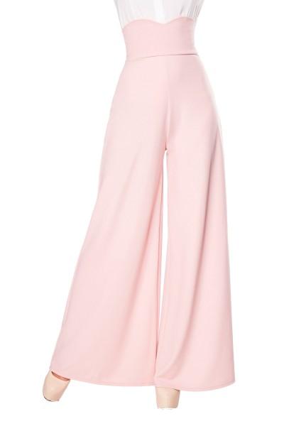 Rosa weite Schlaghose herzförmiger Bundabschluss mit High Waist und Reißverschluss an der Hinterseit