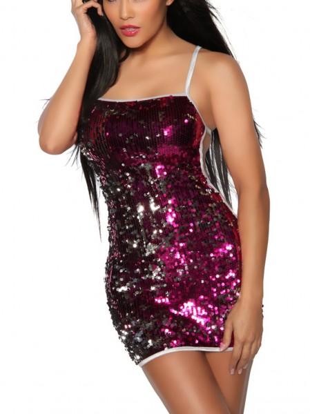 Kurzes glänzendes Pailletten-Kleid Damen pink-silber one size Oberteil Kleid Dress Rückenfrei mit Tr