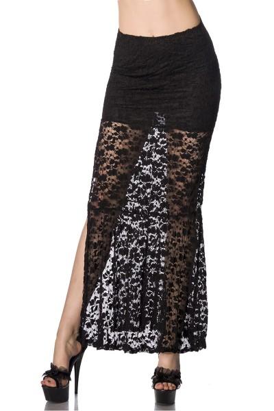 Langer schwarzer transparenter Maxirock aus Spitze mit Unterrock