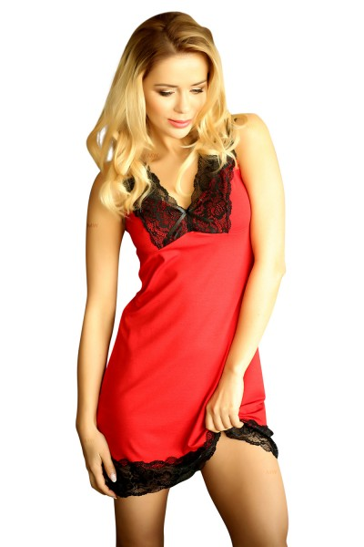 908bead94fe5b Damen Dessous Nachtkleid blickdicht mit Spitze Mini-Kleid Nachthemd in rot