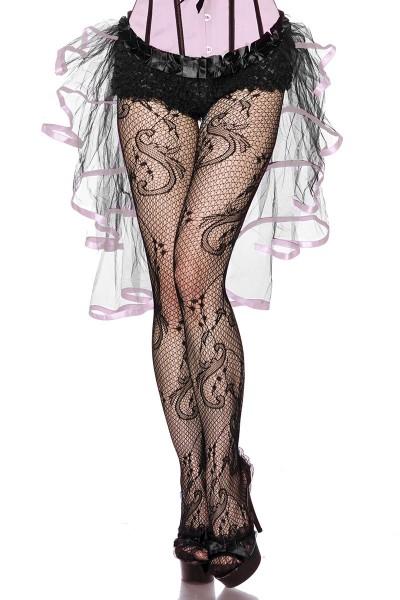 Volantrock aus Tüll und Satin vorn kurz hinten lang mit Rosa Bändern Burlesquerock