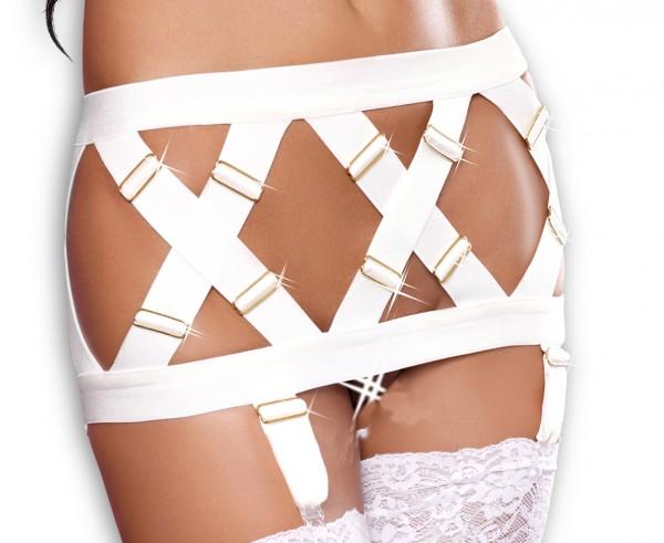 Weißer Damen Dessous Strapsgürtel aus Gummibändern und Metall Garter Belt