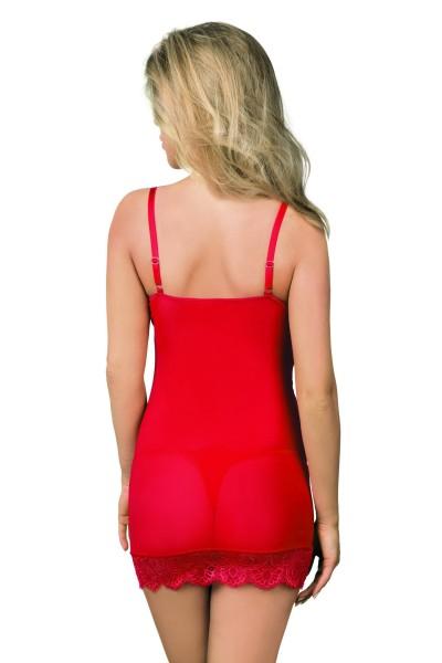 Frauen Dessous Set Negligee und String in rot Nachtkleid mini aus Tüll und Spitze dehnbar erotisch