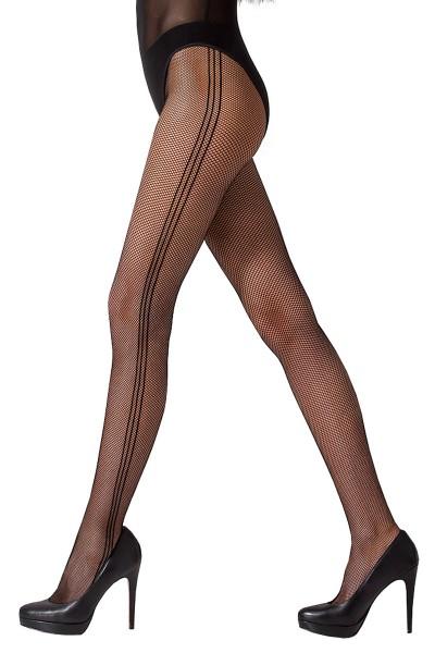 Damen Netz-Strumpfhose schwarz transparent mit seitlichen Streifen